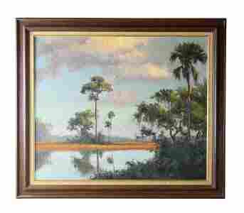 Albert Backus (1906-1990) Florida Wetlands Oil Painting