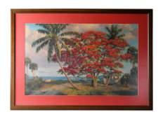 Albert Backus Red Royal Poinciana Seascape SIGNED