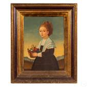Portrait Of Girl With Fruit Oil Painting on Canvas