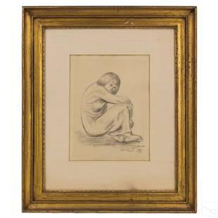 Maurice Glickman 19061981 Seated Woman Drawing