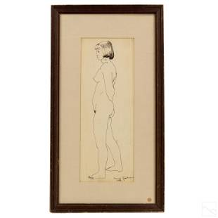 Maurice Glickman 19061981 Nude Female Ink Drawing
