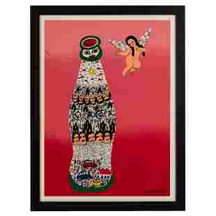 Howard Finster Angel Baby With Coca Cola Serigraph