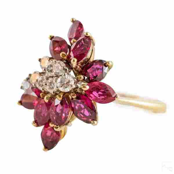 14K Gold Diamond Ruby Marquise Ring 6.1gram SIZE 8