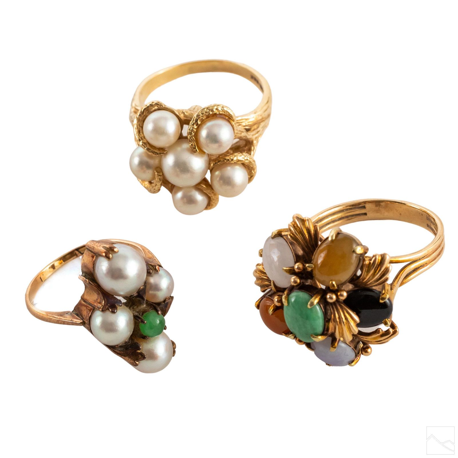 14K Gold Pearl & Semiprecious Clusters Rings GROUP