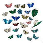 Sterling  Guilloche Butterfly Flora Pin GROUP LOT