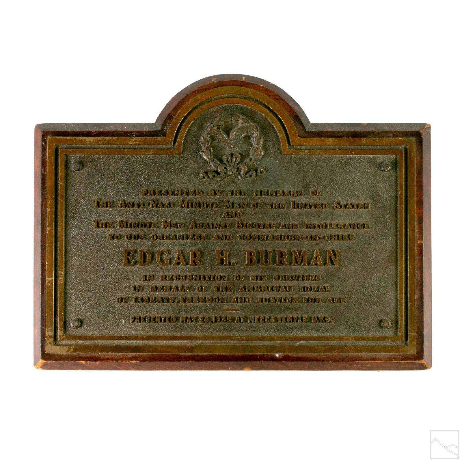 Bronze & Wood 1935 Minute Men Presentation Plaque Art
