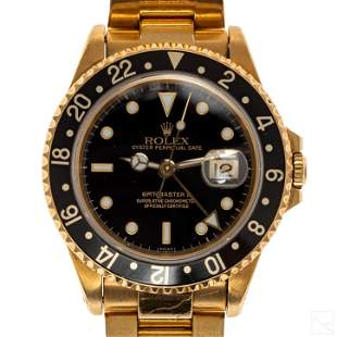 Rolex Solid 18K Gold GMT Master #16718 Sport Watch