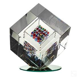 Jon Kuhn (b.1949) Modern Art Glass Cube Sculpture