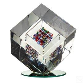 Jon Kuhn (b.1949) Modern Art Glass Cube Sculpture