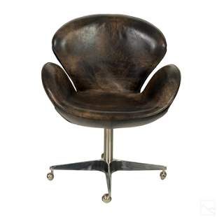 Restoration Hardware Devon Leather Swivel Chair