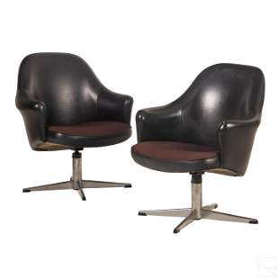 Frank Doerner Faultless Pair Leather Swivel Chairs