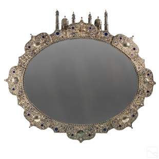 Bejeweled Persian Sterling Silver Palace Mirror
