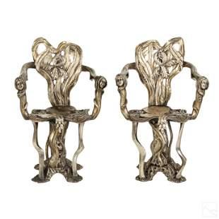 Art Nouveau 19thC Lily Pad Silver Gilt Wood Chairs