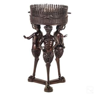 Monumental Bronze Satyr Sculptural Planter Stand