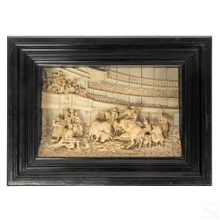 19C Grand Tour High Relief Carved Gladiator Plaque