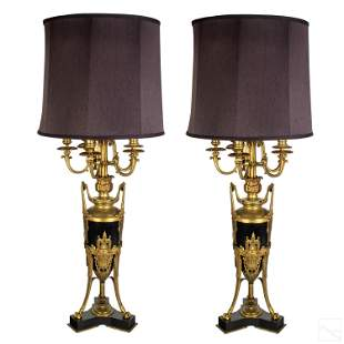 French Fine Antique Dore Bronze Candelabra Lamps