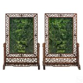 Chinese Green Spinach Jade Landscape Table Screens