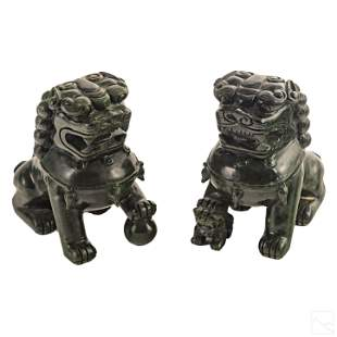 Chinese Pair Hardstone Spinach Jade Foo Dog Lions