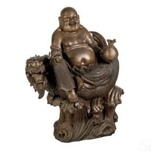 Chinese Bronze Buddha & Dragon Palace Size Statue
