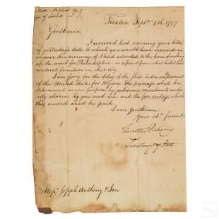 Timothy Pickering Signed HANDWRITTEN 1797 Letter