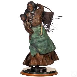 S L York (b.1952) Native American Bronze Sculpture