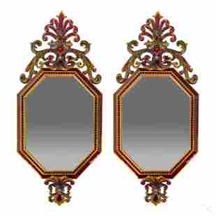 Jay Strongwater SIGNED Mardi Gras Wall Mirror PAIR
