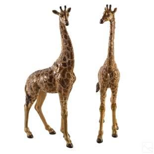 Jay Strongwater SIGNED Bronze Giraffe Sculptures