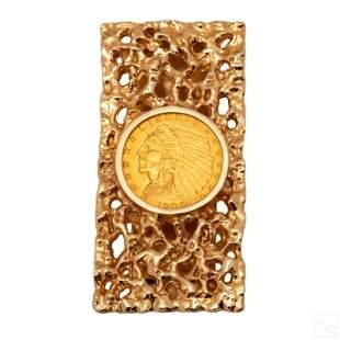 14K Gold Vintage $2.50 Gold Indian Coin Money Clip