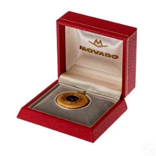 18K Gold Movado Guilloche Enamel Pocket Watch +Box