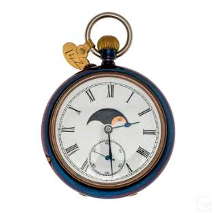 Moon Phase Antique Day Month and Date Pocket Watch