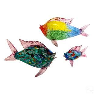 Murano Italian Art Glass Fish Sculptures GROUP LOT