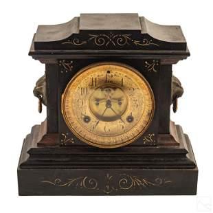 Ansonia 19th C. Antique Black Marble Mantel Clock