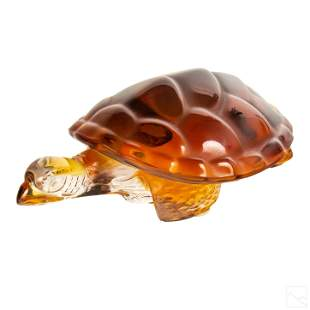 Lalique Amber Glass Crystal Sea Turtle Figurine