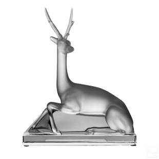 Lalique Crystal Cerf Deer Stag Figurine Sculpture