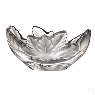 Lalique Compiegne Glass Crystal Leaf Centerpiece
