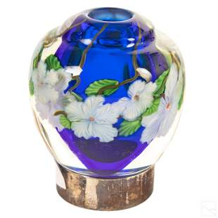 Baccarat French Art Glass Floral Paperweight Vase
