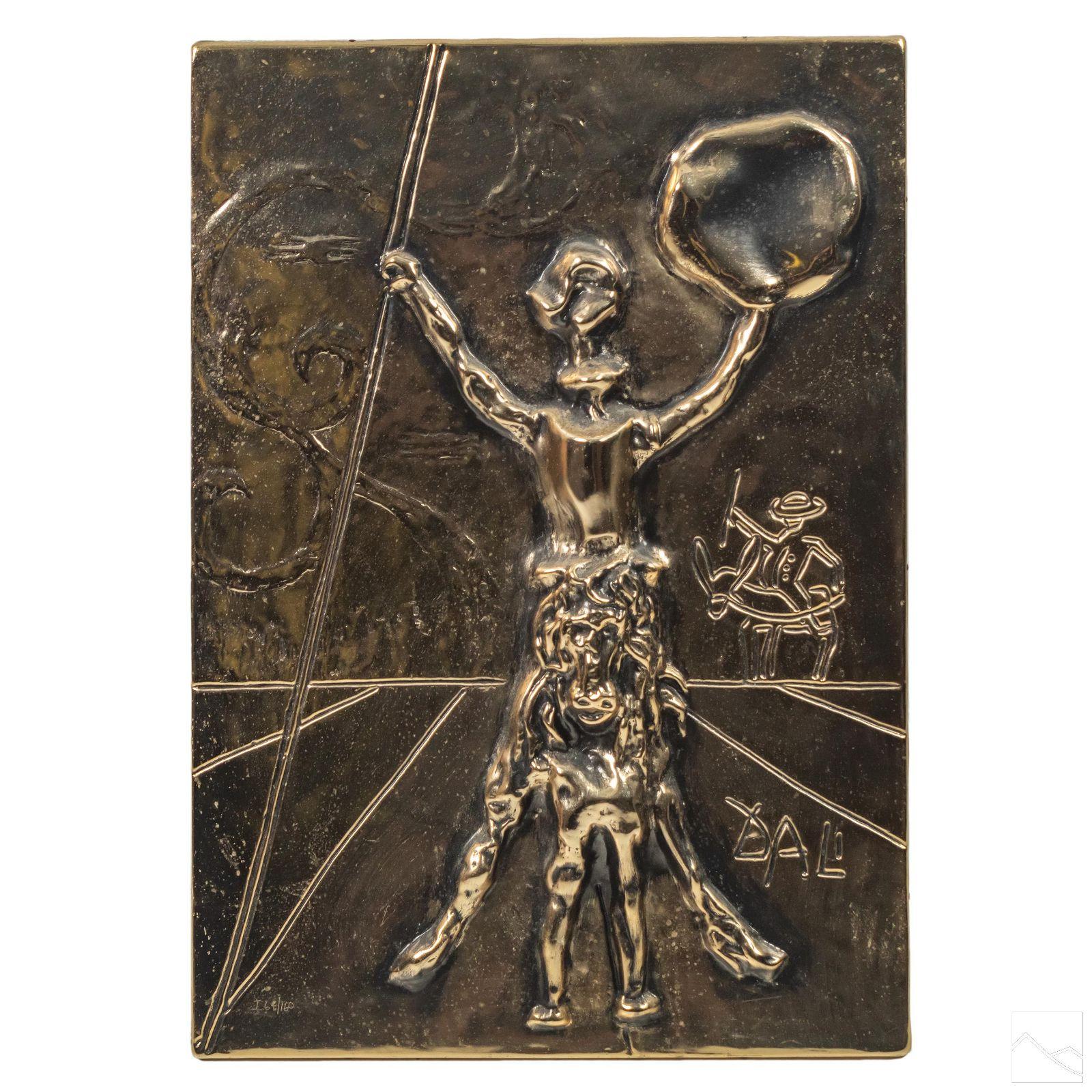 Salvador Dali Signed Don Quixote Bas Relief Plaque
