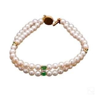 14K Gold Emerald Diamond & Pearl Vintage Bracelet