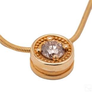 14K Gold Designer 1/2 CT Diamond Pendant Necklace