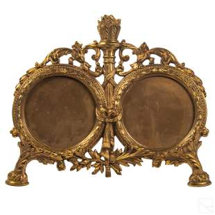French Antique Gilt Bronze Double Picture Frame