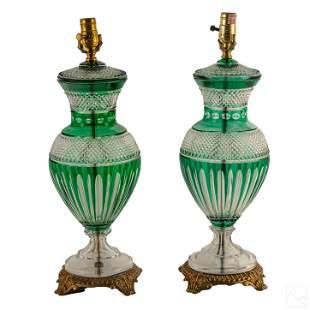 Hungarian Bohemian Crystal Art Nouveau Style Lamps