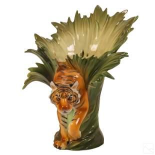 Franz Porcelain Jungle Beauty Tiger Sculpture Vase