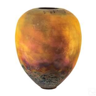 Modernist Raku Pottery Amphora Centerpiece Vase