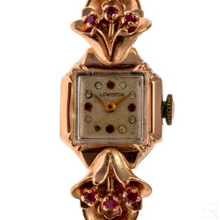 14K Rose Gold Vintage Retro Ruby Cocktail Watch