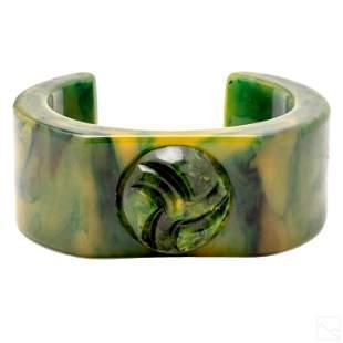 Carved Green Swirl Vintage Bakelite Cuff Bracelet