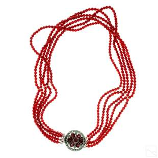 Five Strand Sterling Red Angel Skin Coral Necklace
