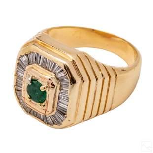 14K Gold VTG Men's Emerald Diamond Ring Size 9 3/4