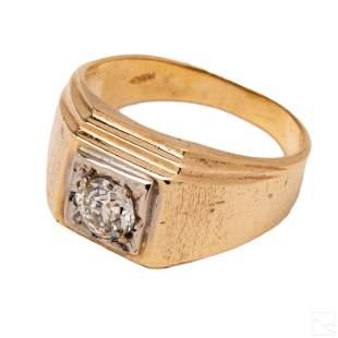 14k Gold Men's .85 CT Old European Diamond Ring
