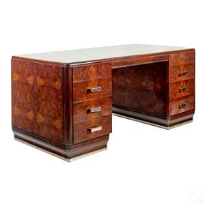 Art Deco Lacquer Burl Wood Desk after Joe Colombo