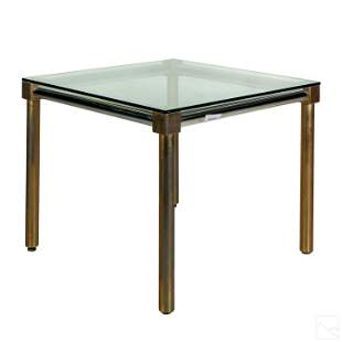 Mid Century Modern Chrome Brass Dining Room Table